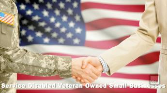 Veteran and civilian shaking hands in front of flag with text Service-Disabled Veteran-Owned Small Business