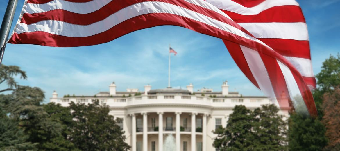 Image of flag in front of the White House