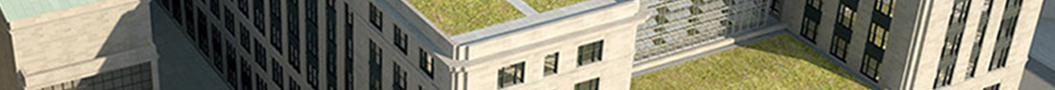 bird's eye view of the GSA headquarters building showing the green rooftops
